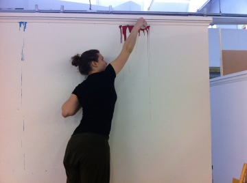 Testing out Ruby's dripped paint walls in colour